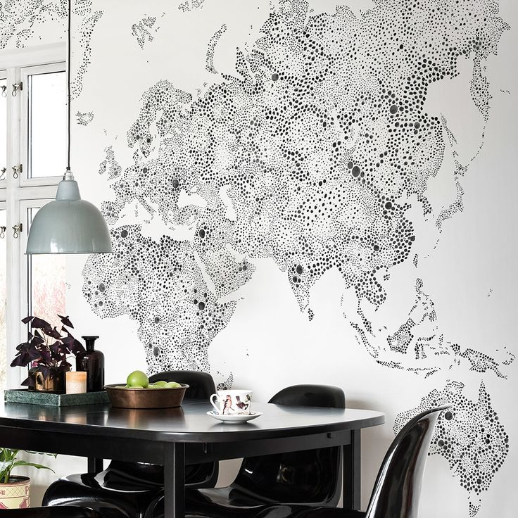 tolle fototapete mit gepunkteter weltkarte von sandberg world map schwarz weiss - Fototapete Grau Wei