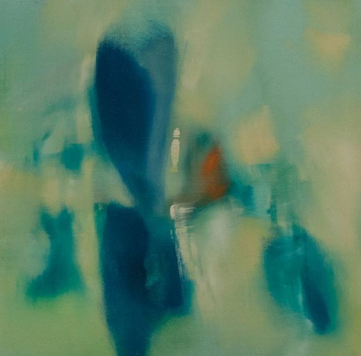 Painting: Oil on Canvas. Riflections.. Venice inspired 47.15, Venice, Italy 30x30 cm SOLD  #poetic, #silhouette, #blue, #transparent, #water #modern wall decor #abstract #green, #water riflections #lagoon #landscape, #light #Saatchi Art Artist Elio Rosolino Cassara
