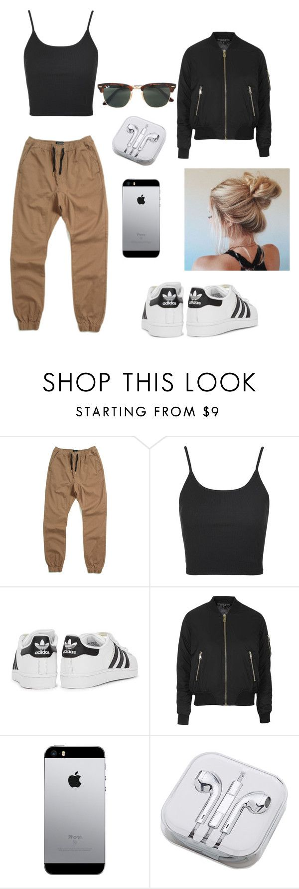 how to wear adidas by karlamichell on Polyvore featuring moda, Topshop, Zanerobe, adidas Originals, Ray-Ban and PhunkeeTree