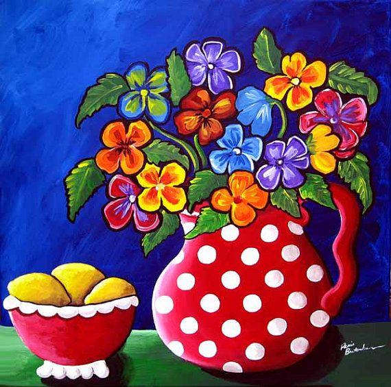 Pansies Polka Dots Floral Fun Funky Colorful Flowers Whimsical Original Folk Art Painting