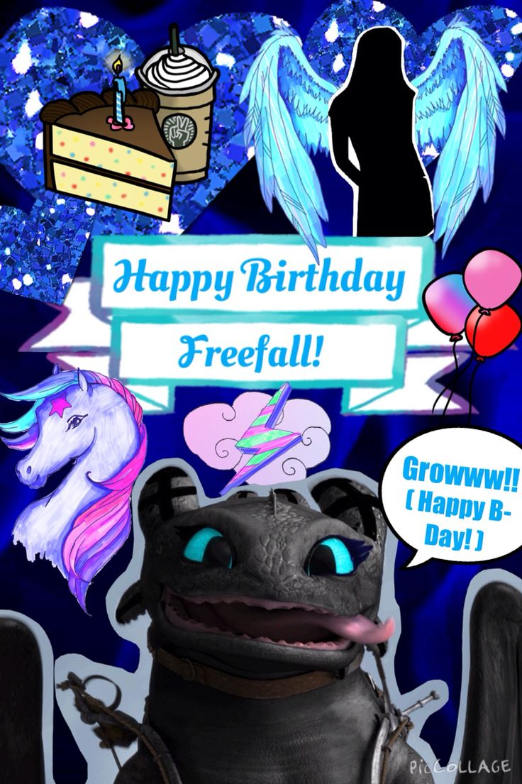 Happy Birthday Freefall!!!! :D From Luna and I :) I made you a virtual birthday card, so I hope you like it!! I tried to put in things that you liked, like horses and the bird-people mutants and of course Freefall :) And I wasn't really sure what your favorite colors were, so I just put in lots of shades of blue. Also, bear with me here, I haven't edited pics in a long time so I apologize if the edited pic of Freefall I did isn't up to par :/ But anyway, I hope you like it!!!!! :D :D :D