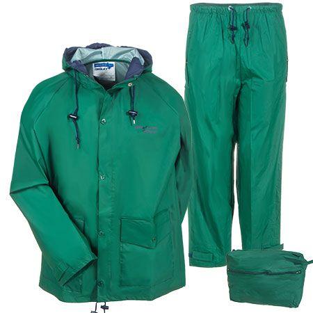 Tingley Rubber Men's Green S66218 Waterproof Hooded 2-Piece Rain Suit