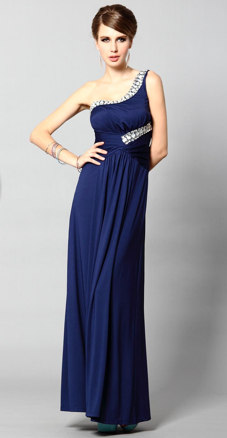 #Girls #Dresses | One Shoulder full-length sequins evening dress | #coniefox #2016prom