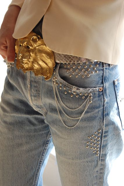 Studs with small chains. And I have seen tiny chains sewn onto a blouse as though the chains were woven into the fabric. Looked great. In general, silver and gold together do not look upscale. Christopher Ross belt--wow, wow! wow!!