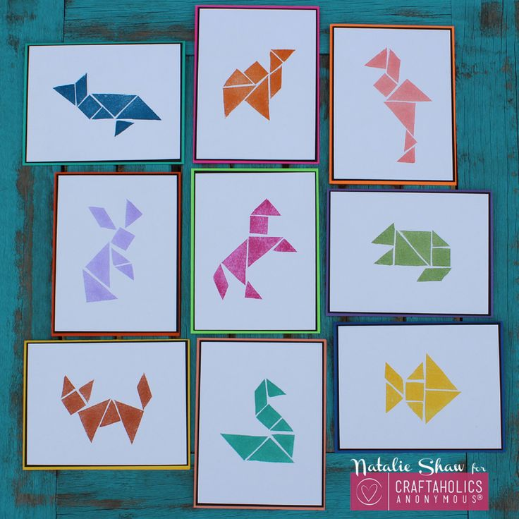"DIY Tangrams Art By: Natalie from Doodlecraft A Tangram is a Chinese dissection puzzle consisting of 7 flat shapes. They all fit perfectly in one square. My dad is a Mathematician.  He collects ""smart games"". He loves all sorts of thin"