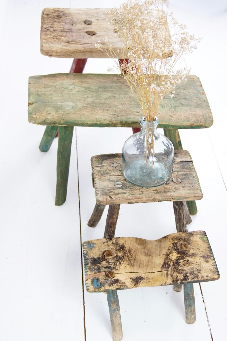 alte Holzschemel / old wooden stools http://boheme-living.com/furniture/hocker-und-schemel.html