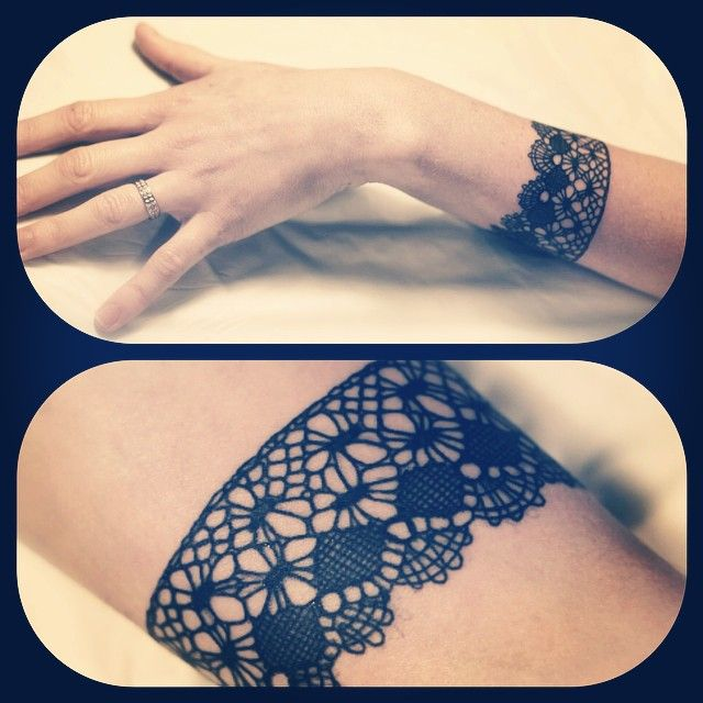 Lace tattoo wrist cuff arm bracelet. Pretty & girly. Tattoo by Dodie at L'Heure Bleue