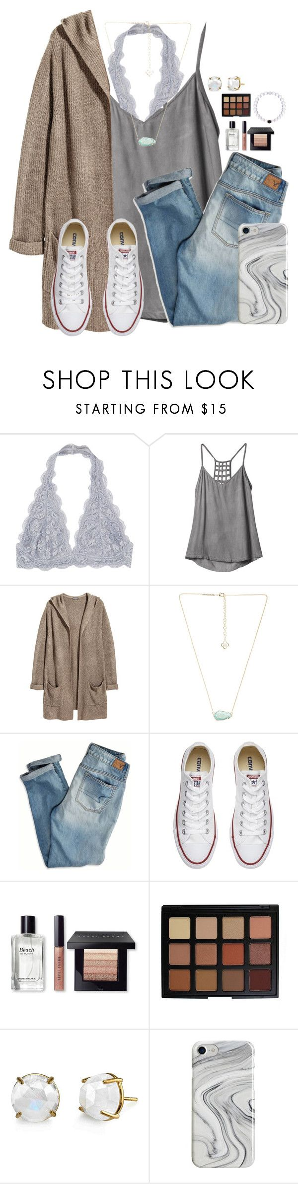 """Went to eat some crepes and go to the farmers market"" by victoriaann34 ❤ liked on Polyvore featuring RVCA, H&M, Kendra Scott, American Eagle Outfitters, Converse, Bobbi Brown Cosmetics, Morphe, Irene Neuwirth and Recover"