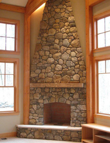 49 best living room images on pinterest for the home for Corner stone fireplace