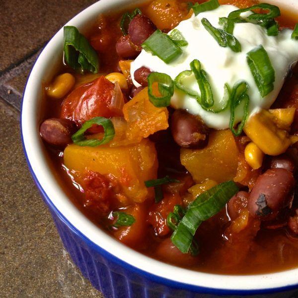 Slow Cooker Vegetarian Chili with Butternut Squash - Gluten Free, Dairy Free, Vegan - The Lemon Bowl