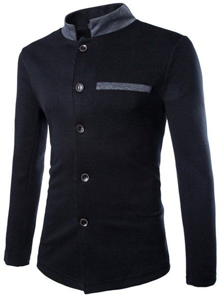 Slimming Stand Collar Elegant Patch Pocket Hit Color Long Sleeves Chinese Tunic Suit For Men