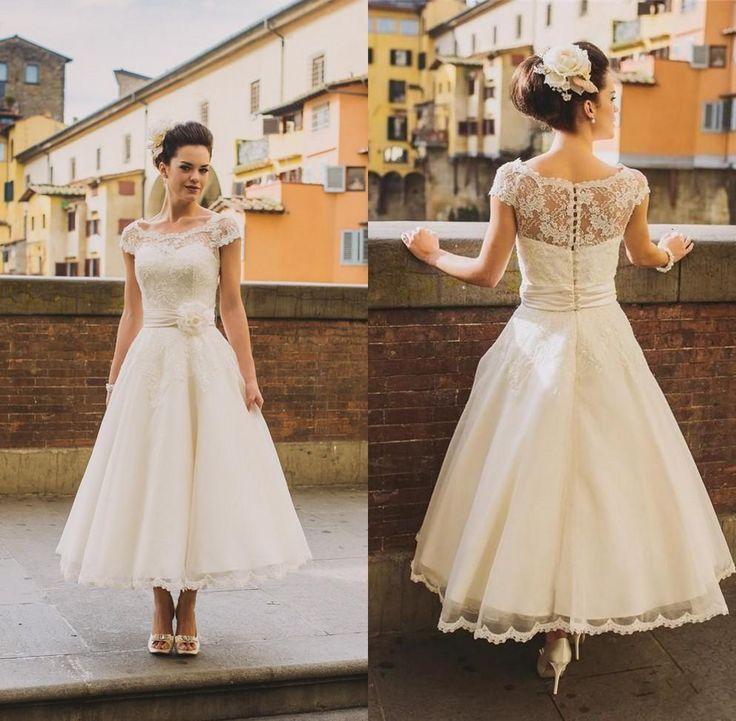 Vintage Lace Tea Length Beach Wedding Dress Short Sleeves: Choose 2016 New Short Beach Wedding Dresses Lace Top Cap