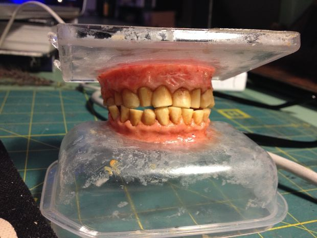 Picture of Tabasco Stained Teeth Made out of Gum and Peanut