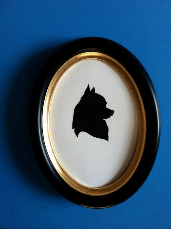 Framed Pet Silhouette - 10% of sale will be donated to the Animal Rescue League of Southern Rhode Island on Etsy, $75.00