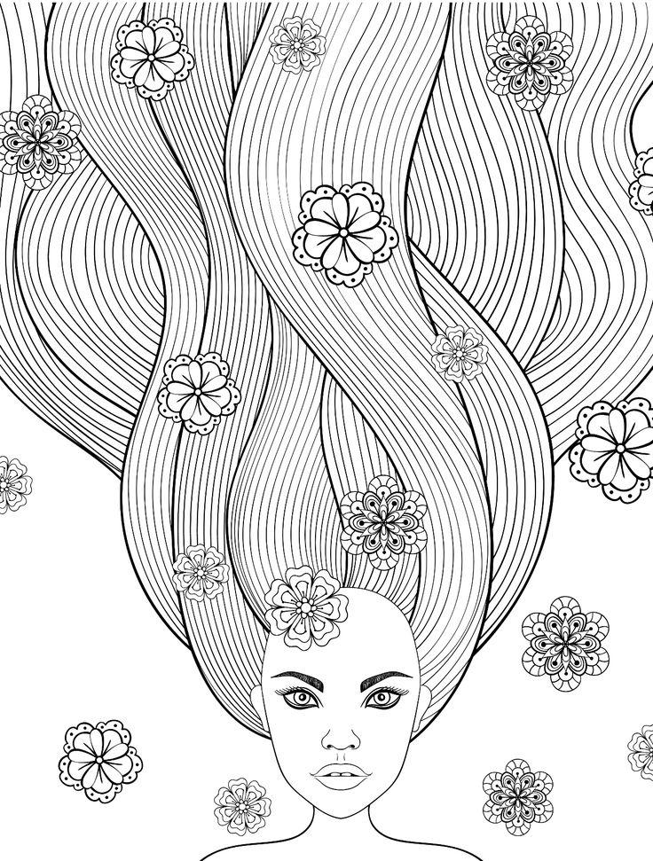 Раскраска волосы длинные проведена