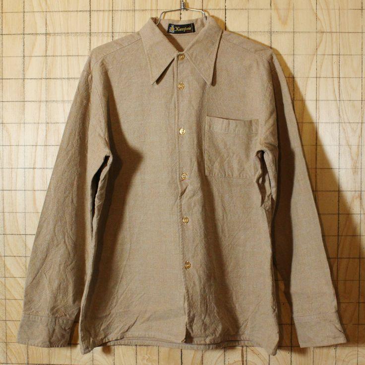 【Harryland】フランス製古着無地ベージュコットンシャツ・ヘビーネルシャツ|メンズM相当