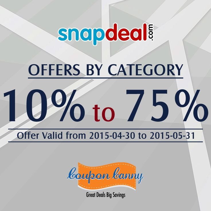 10% to 75% OFFERS BY CATEGORY at #Snapdeal! Visit: http://www.couponcanny.in/snapdeal-coupons/