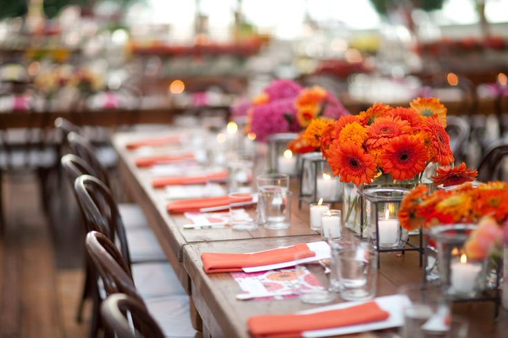 Orange can be incorporated in many ways on the tables from the floral arrangements. Description from designerchaircoverstogo.com. I searched for this on bing.com/images