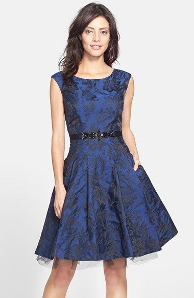Brocade fit and flare love this want need love Wedding dress guest petite