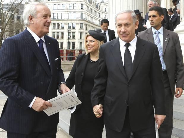 Former Canadian prime minister Brian Mulroney (left), and Israeli Prime Minister Binyamin Netanyahu
