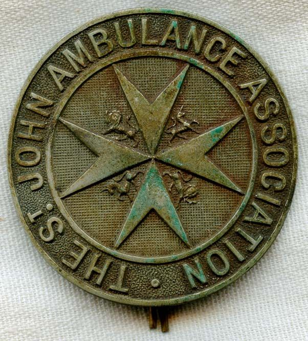WWI St. John Ambulance Association Ambulance Driver Hat Badge Type II
