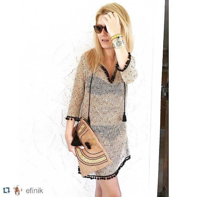 Thank you! #Repost @efinik with @repostapp. ・・・ Ready for the beach! Wearing @ancientkallos caftan and @xristinamalle clutch!