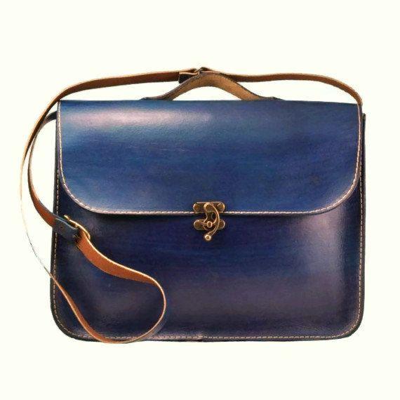 Blue Leather Laptop Bag Briefcase Messenger Bag by ammaciyo, $124.00