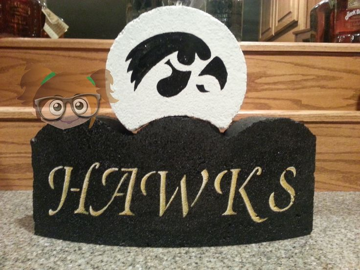 Hand painted Iowa hawkeye brick edger from www.facebook.com/krisscreativecrafts