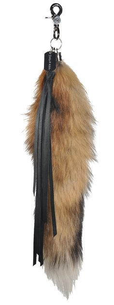natural fox tail keychain