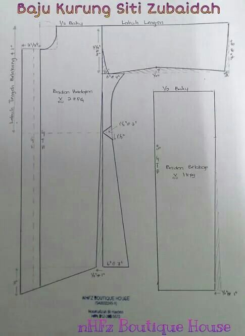 Pola baju kurung siti zubaidah
