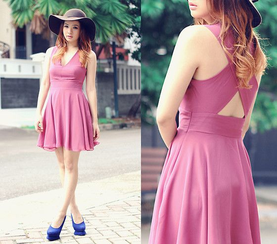 Berry Chiffon Cross Back Dress, New Look Floppy Hat, Blue Pumps