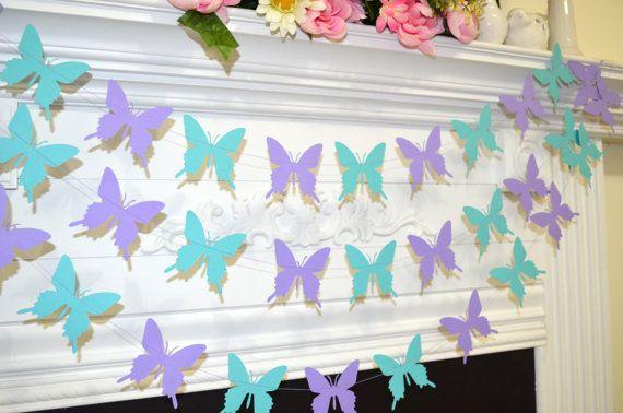 Butterfly wedding garland, teal lilac purple butterfly banner, butterfly theme decor, birthday decor, baby shower garland, butterflies