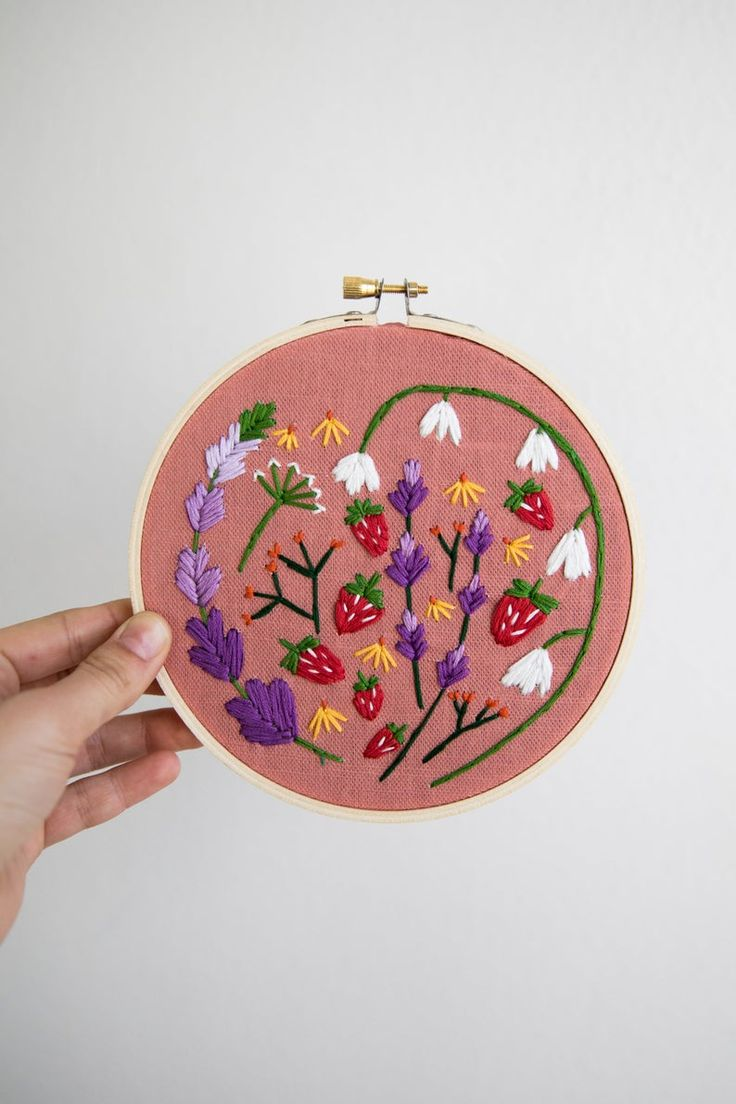 Diy embroidery kit dark blue and blush pink floral hoop