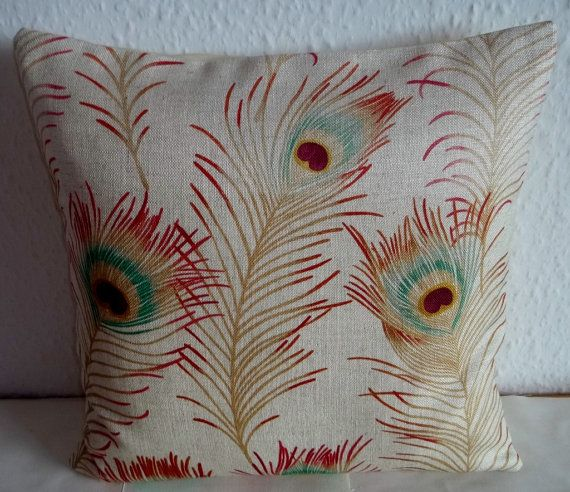 "Sanderson THEMIS Peacock Feathers fabric cushion cover, pillow cover, 16"" x 16"" (41cm x 41cm)"