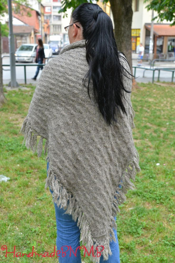 Female triangular hand-knitted woolen scarf, Knitted shawl, wool shawl, sheep wool, Knit Shawl, Triangular Shawl, handmade shawl, gray shawl - pinned by pin4etsy.com
