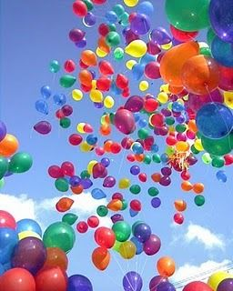 Bright, colorful balloons in the sky!