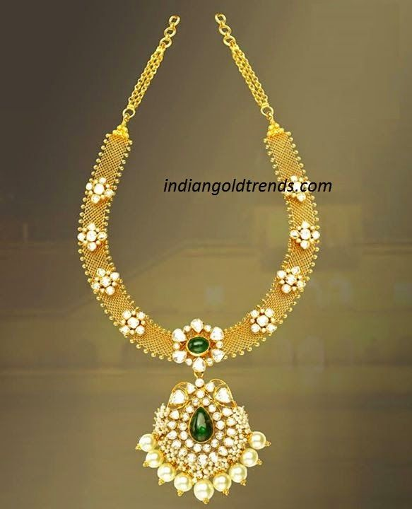 Latest Indian Gold and Diamond Jewellery Designs: Classic Gold mesh model kundan necklace