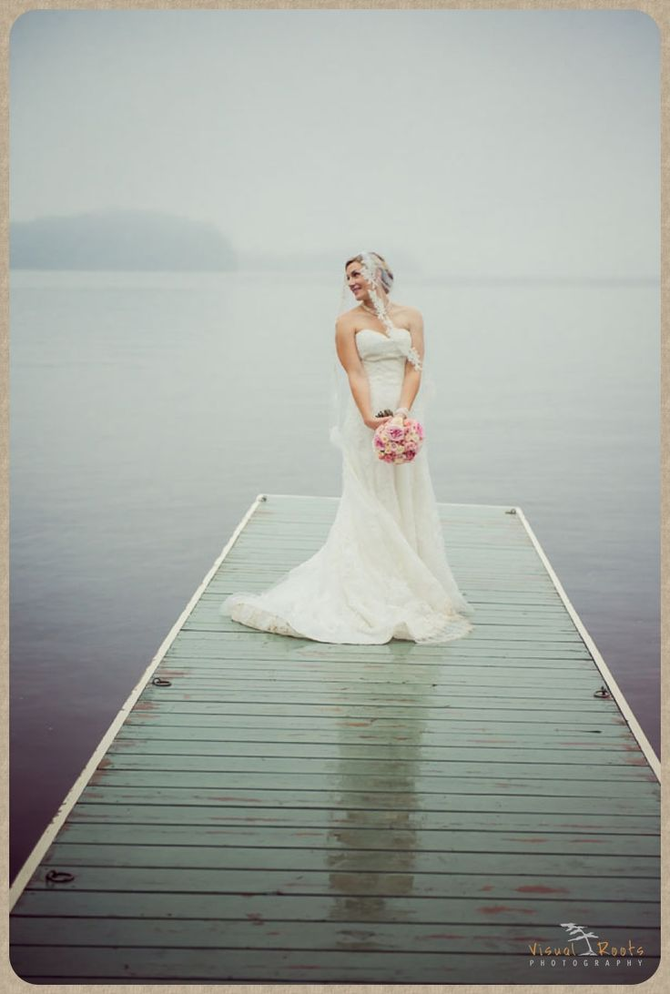 #Lakeside #Dock #Muskoka #Bride #Wedding