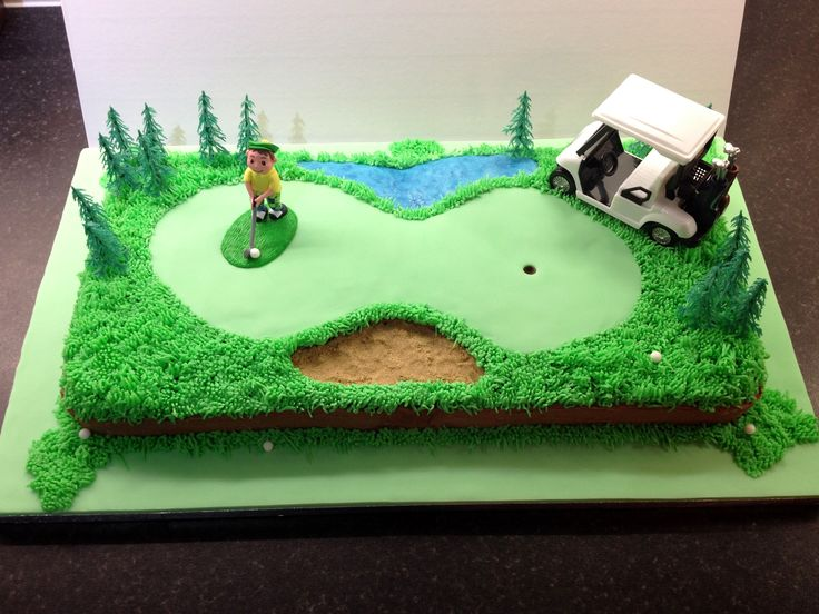 How to make a golf course cake! A Tee Time Treat! Golfing cake. Golf buggy. Golfer. Grass piping.