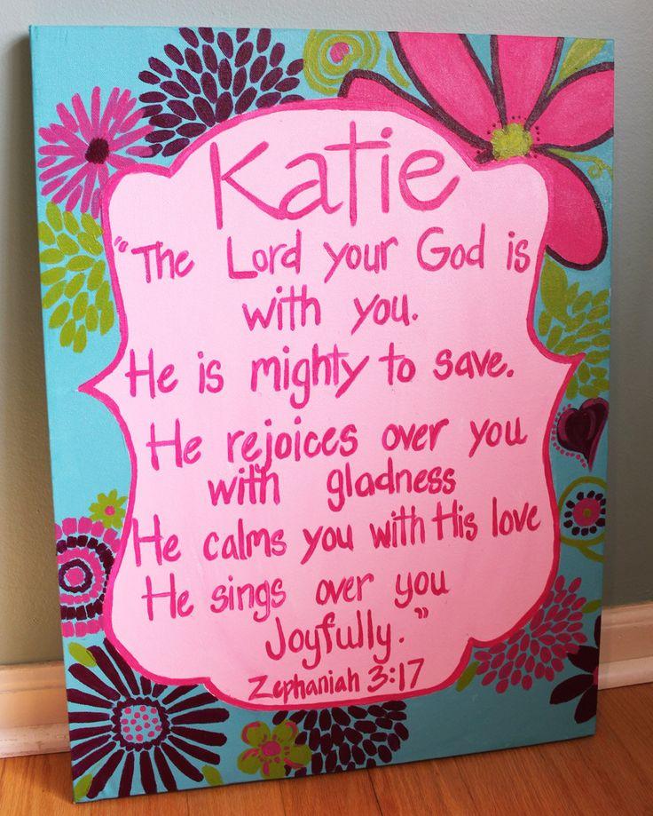 Custom Trio Girls Room Paintings Floral Paisley Scripture Zephaniah 3:17. $120.00, via Etsy.