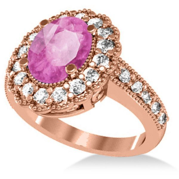 Allurez Pink Sapphire & Diamond Oval Halo Engagement Ring 14k Rose... ($4,590) ❤ liked on Polyvore featuring jewelry, rings, 14k diamond ring, rose ring, rose engagement ring, rose gold band rings and pink sapphire engagement rings