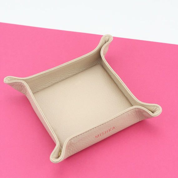 Leather Valet Tray | Catch All  | Travel Tray Set - BLUSH by MISHKA