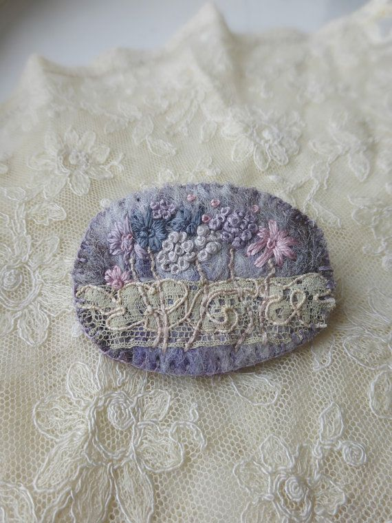 Wild Meadow embroidered felt brooch with antique by QueenofCuffs