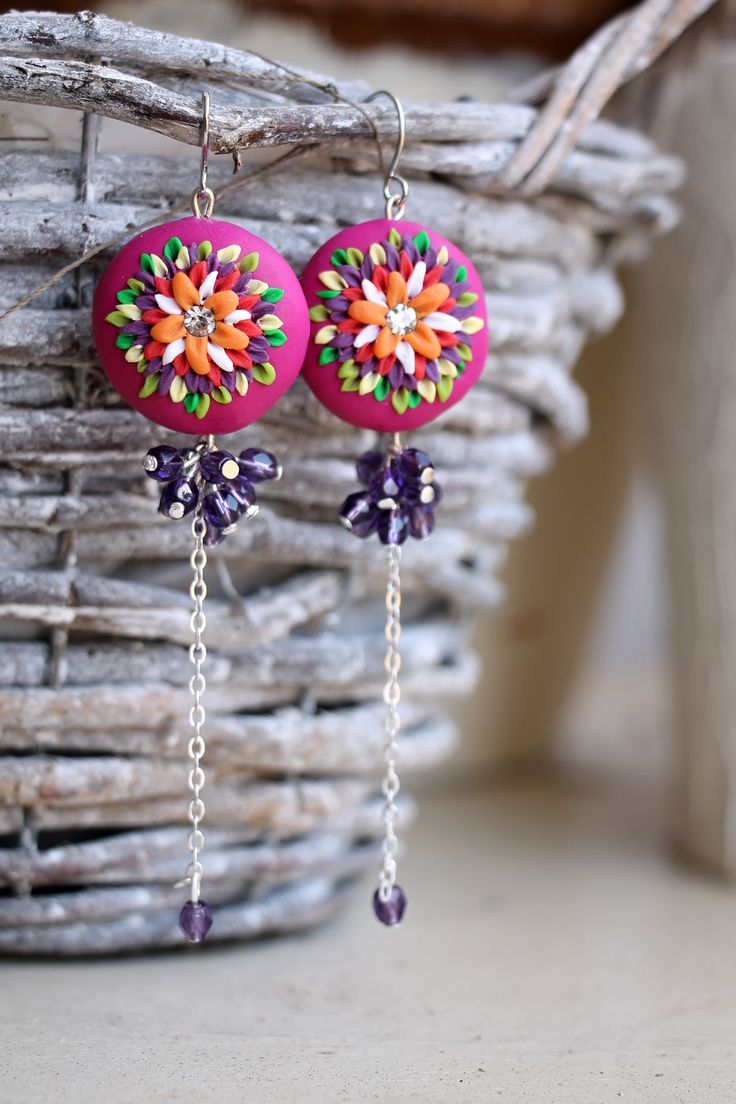 polymer clay fimo earrings. handmade. leniccka.