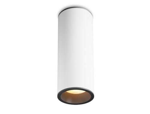 Накладной #светодиодный светильник OSKAR в белом цилиндрическом корпусе с декоративным черным обрамлением