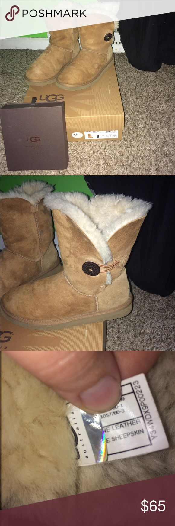 Bailey button UGG boots and UGG care kit They have been used and do have creases in them due to wear but they are in good condition!! Also comes with a care kit that has also been used and my dog got ahold of the brush handle but it all still works greatly!! They are the chestnut color and they have the original box!! UGG Shoes Winter & Rain Boots
