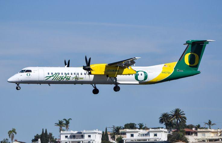 "Horizon Air ""University of Oregon"" DHC-8 402 arriving at SAN on January 25, 2014."
