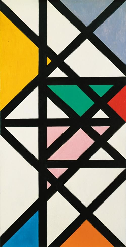 Max Bill - »horizontal-vertikal-diagonal-rhythmus«, oil on canvas, 1942  #Max Bill #1940s art #painting