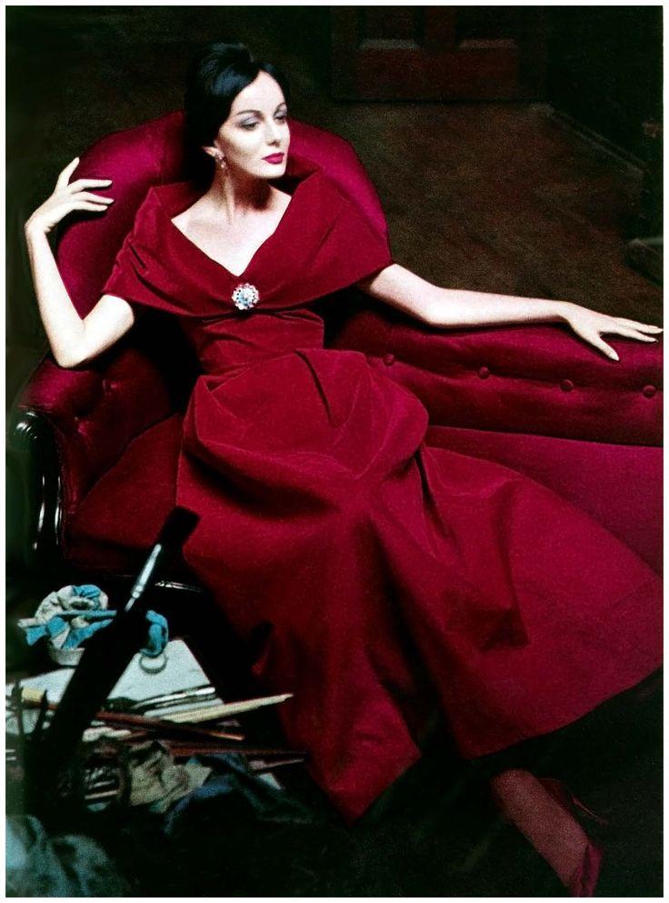 Red velvet gown, Winter 1960. Photo by Helmut Newton.