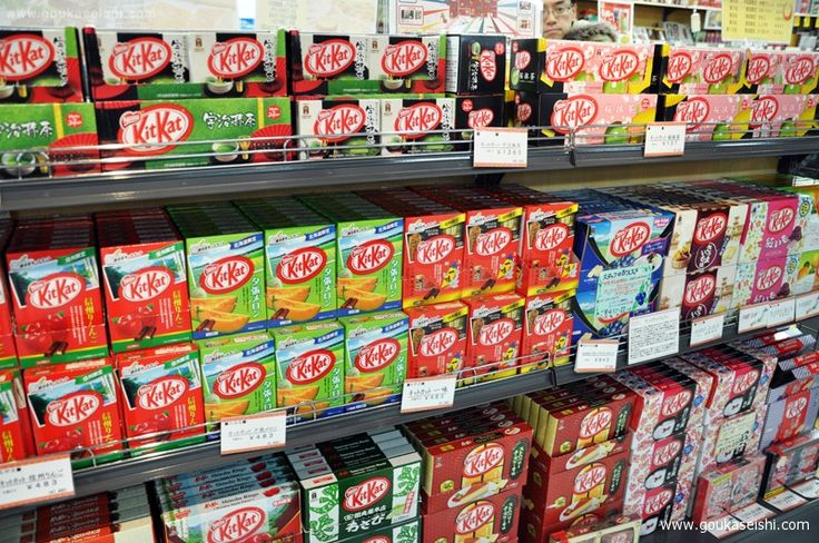 Dingbat KitKat flavors in Japan. From what I can see in the photo, there's Cantelope, Apple, Cheesecake, Green Tea & Wasabi...OMG